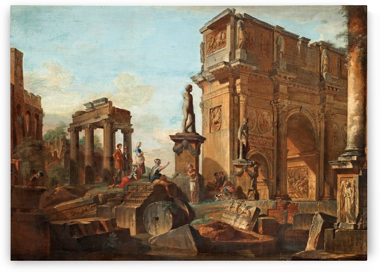 Old famous buildings in Rome by Giovanni Paolo Pannini