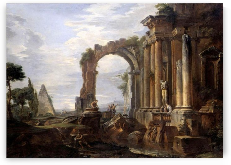 Capriccio with old arch by Giovanni Paolo Pannini