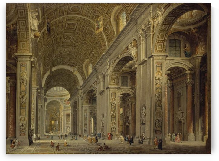 Interior of St Peter Church in Rome by Giovanni Paolo Pannini