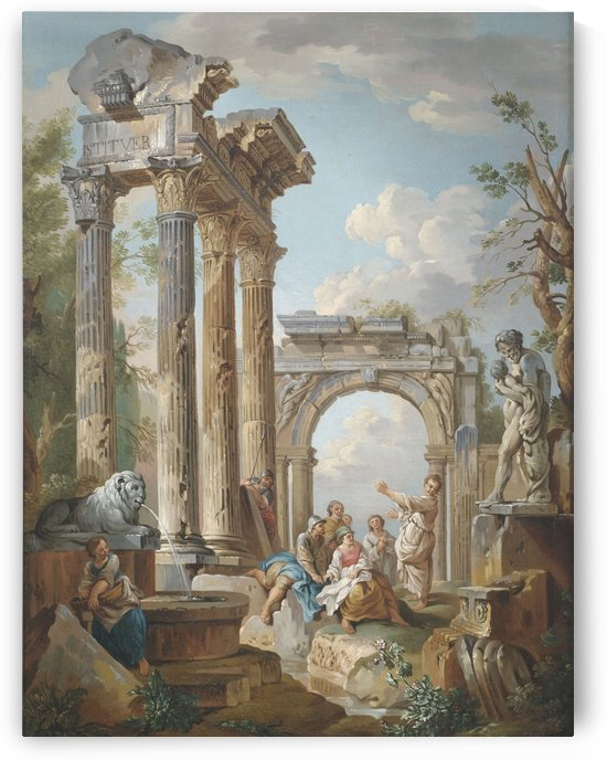 Preaching of an apostle in Roman ruins by Giovanni Paolo Pannini