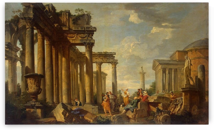 St Sibyl Sermon in Roman Ruins with the Statue of Apollo, 1740 by Giovanni Paolo Pannini