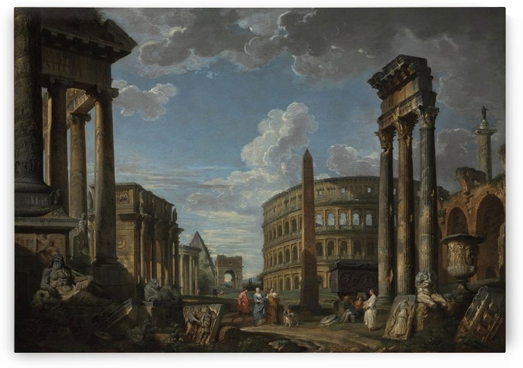 An architectural capriccio with figures among Roman ruins by Giovanni Paolo Pannini