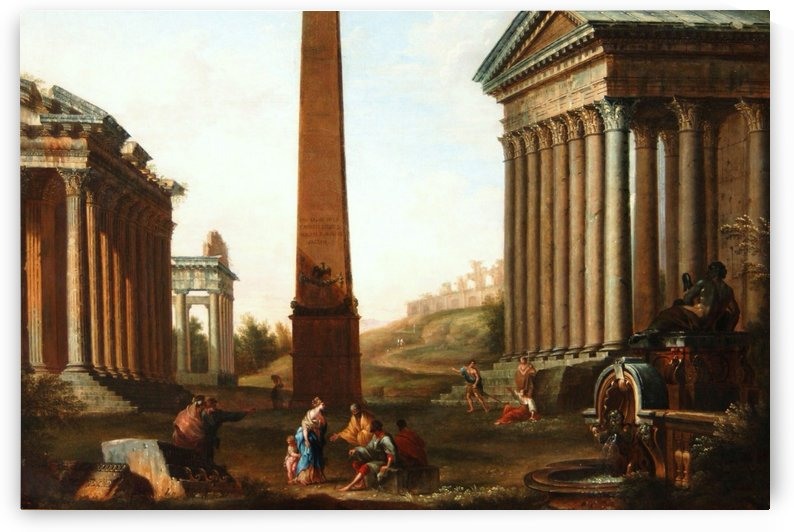 Roman ruins with figures by Giovanni Paolo Pannini