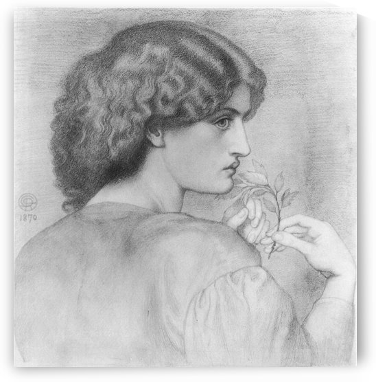 The Roseleaf black and white by Dante Gabriel Rossetti