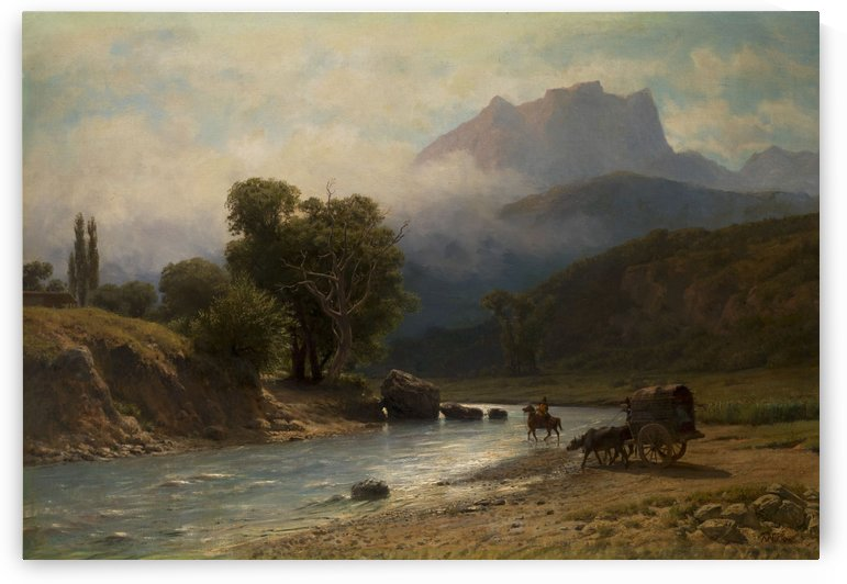 Crossing a river in the Caucasus Mountains by Lev Lagorio