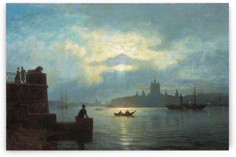 Moonlit Night on the Neva River by Lev Lagorio
