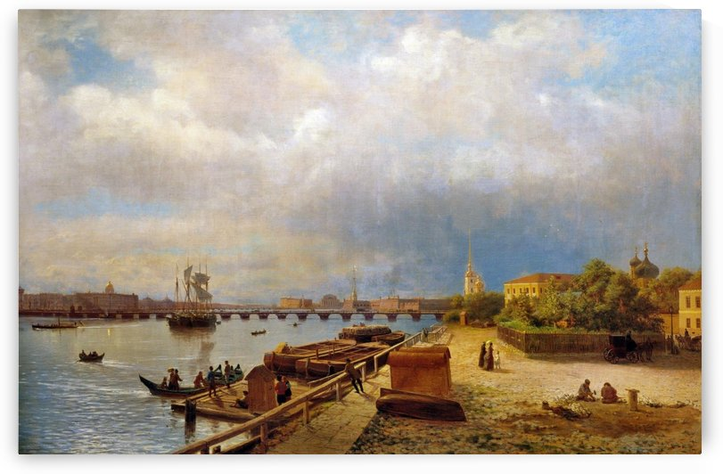 View of the Neva and Peter and Paul Fortress by Lev Lagorio