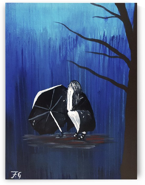 Girl with Umbrella, Crying in the Rain by Fatima Geloo