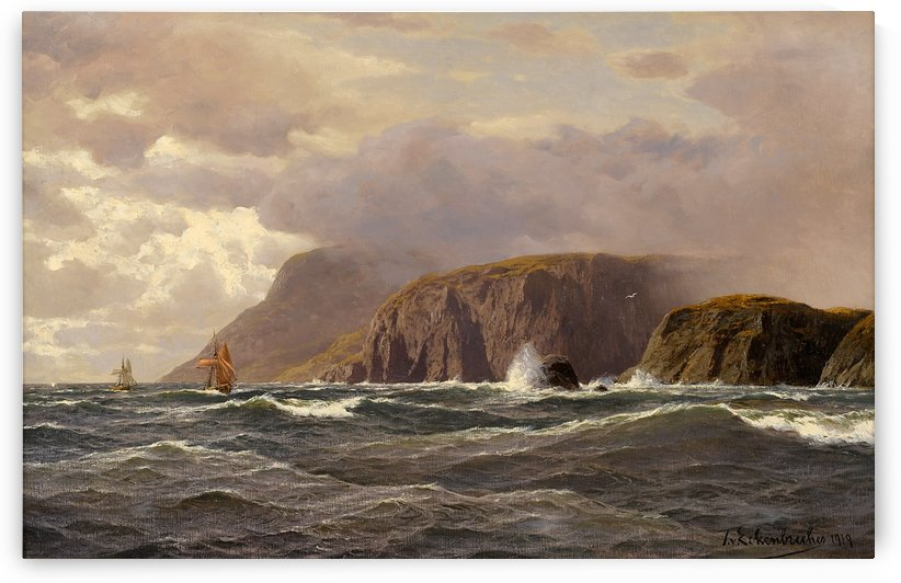 Seascape with cliffs and ships by Karl Paul Themistokles von Eckenbrecher
