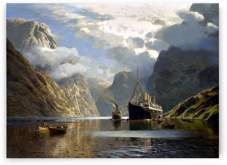 Die Auguste Victoria im Naerofjord by Karl Paul Themistokles von Eckenbrecher