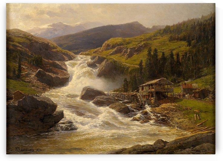 Norwegischer Wasserfall mit Sagemuhle 1918 by Karl Paul Themistokles von Eckenbrecher