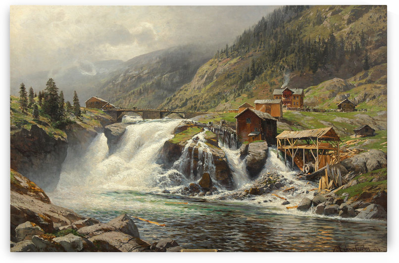Fjorden landscape in Norway by Karl Paul Themistokles von Eckenbrecher