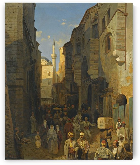 A Busy Street in Tangiers, 1876 by Karl Paul Themistokles von Eckenbrecher