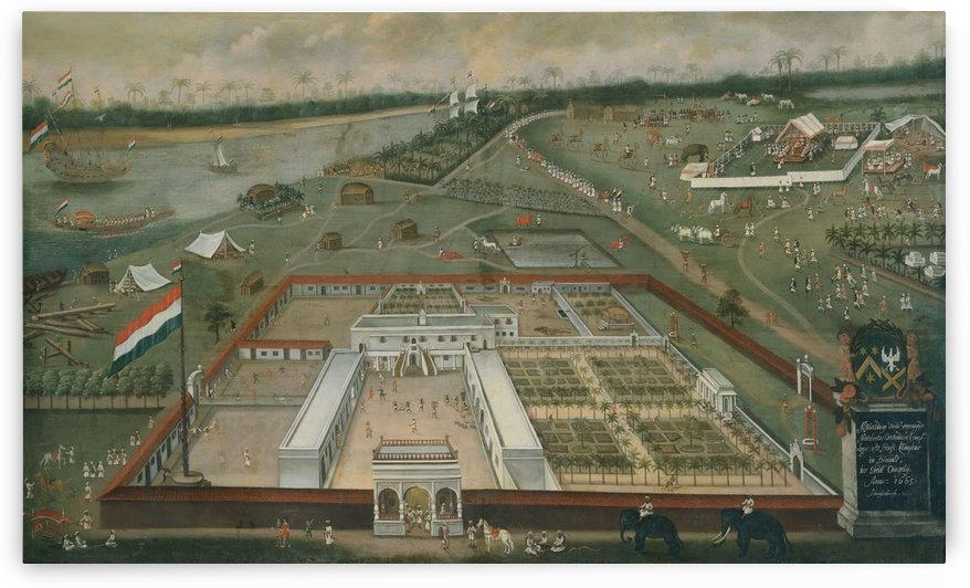 Factory of the Dutch East India Company at Hooghly in Bengal by Hendrik van Schuylenburgh