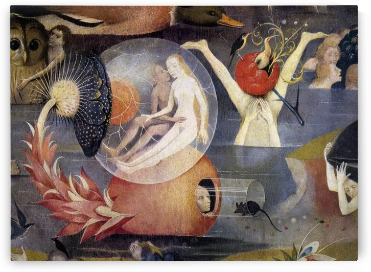 Detail showing nudes within a transparent sphere, which is the fruit of a plant by Hieronymus Bosch