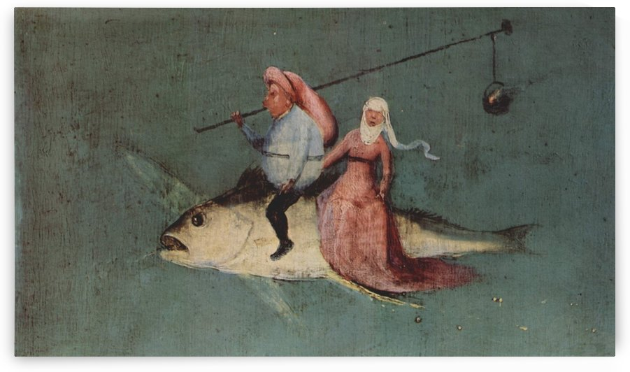 Two figures on a fisch by Hieronymus Bosch