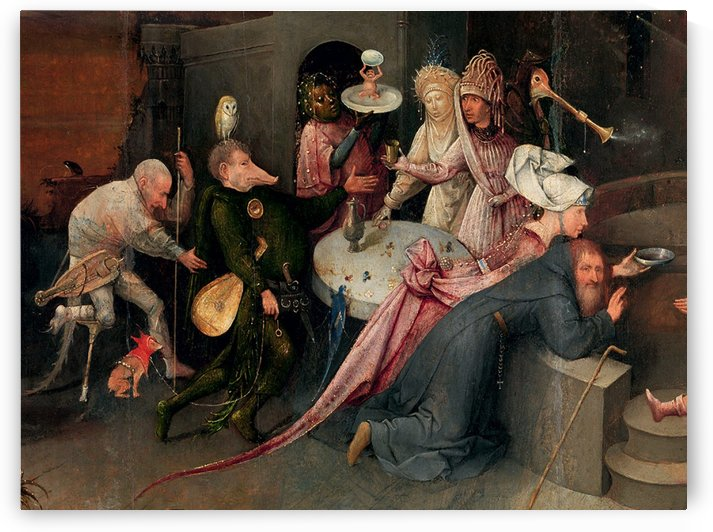 Moralistic depictions of debauchery and temptation by Hieronymus Bosch