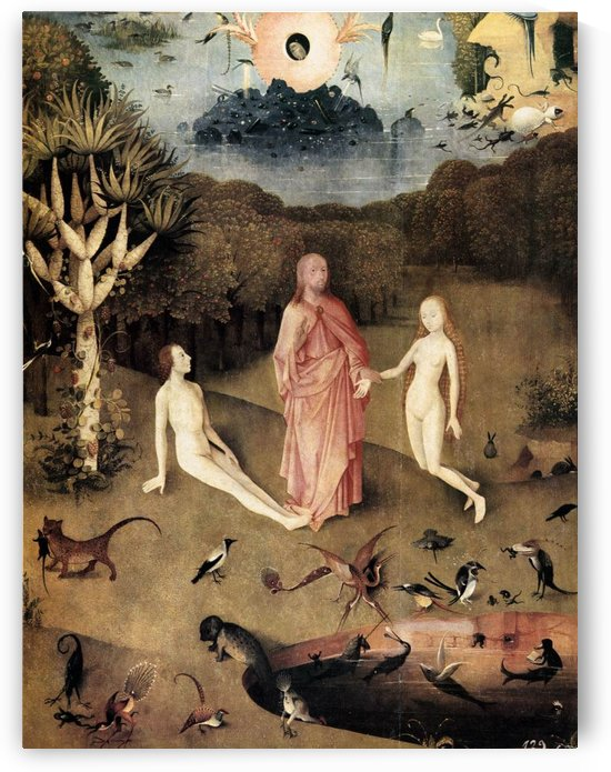 Triptych of Garden of Earthly Delights Left panel detail by Hieronymus Bosch