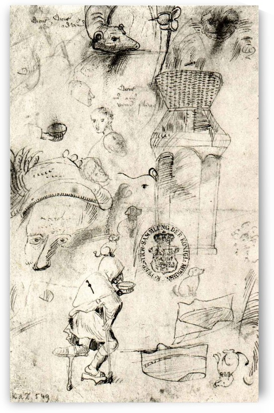 Various sketches and a beggar by Hieronymus Bosch