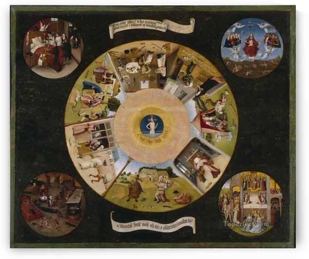 The seven deadly sins and the four last things 1485 by Hieronymus Bosch