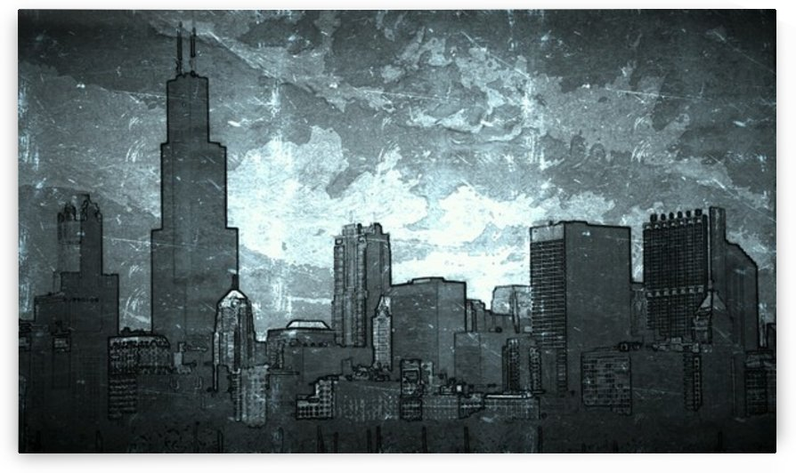 Chicago Skyline Crumple by Eriq Karl