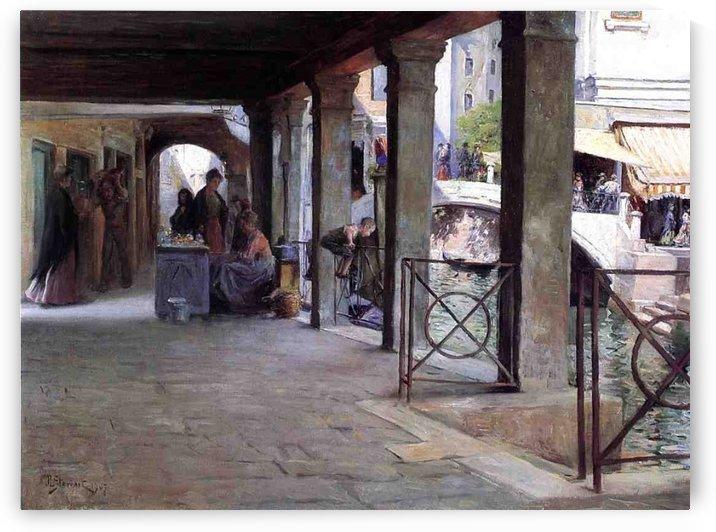 Venetian Market Scene by Julius LeBlanc Stewart