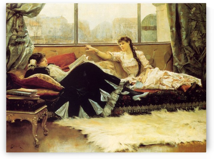 Reading aloud the newspaper by Julius LeBlanc Stewart