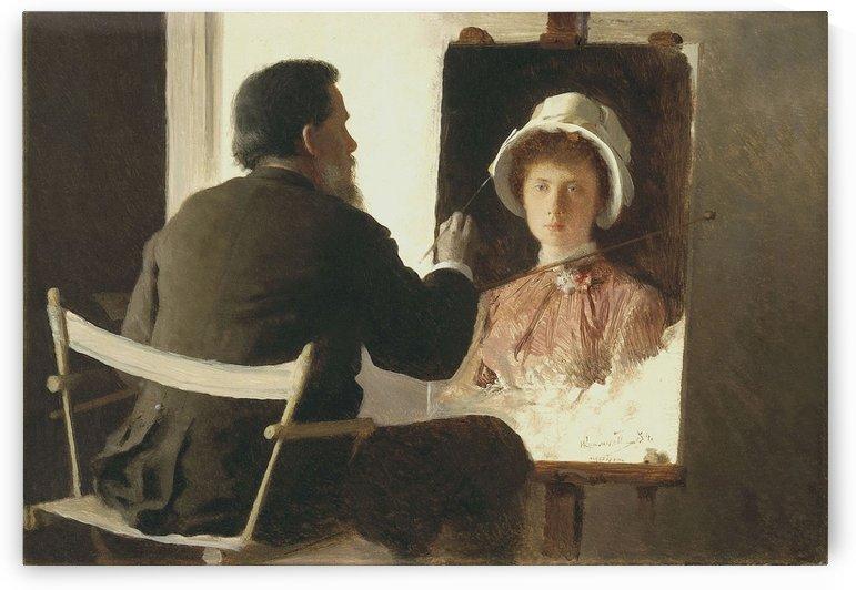 Ivan Kramskoy Painting a Portrait of his Daughter, 1884 by Ivan Nikolaevich Kramskoi