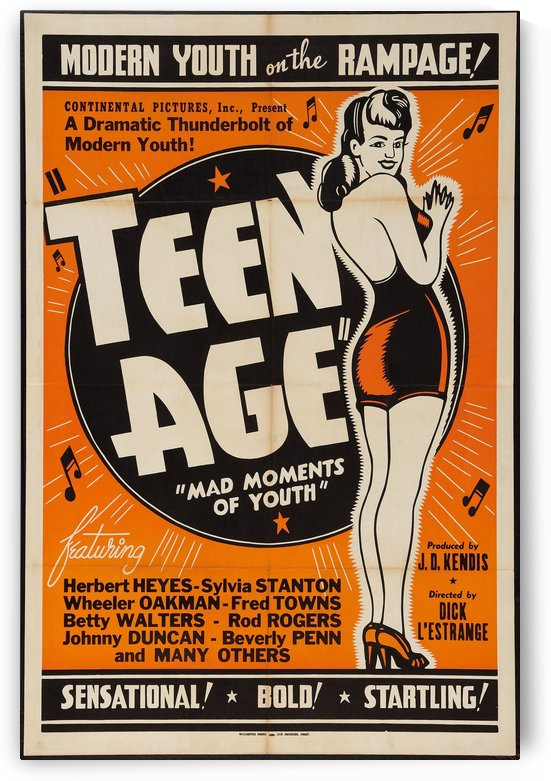 Modern Youth on the Rampage Teen Age Mad Moments of Youth Vintage Theater Poster by VINTAGE POSTER