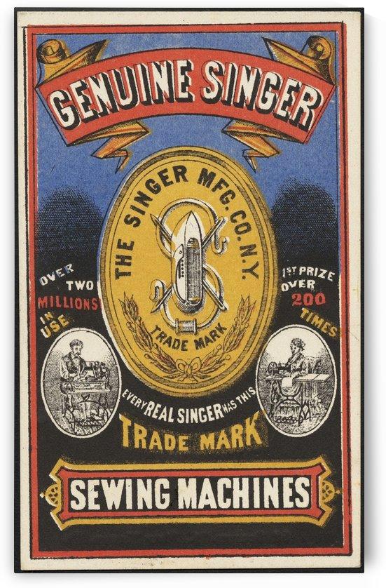 Genuine Singer sewing machines vintage advertising poster 1885 by VINTAGE POSTER