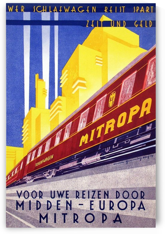 Poster Mitropa Midden - Europa, 1929 by VINTAGE POSTER