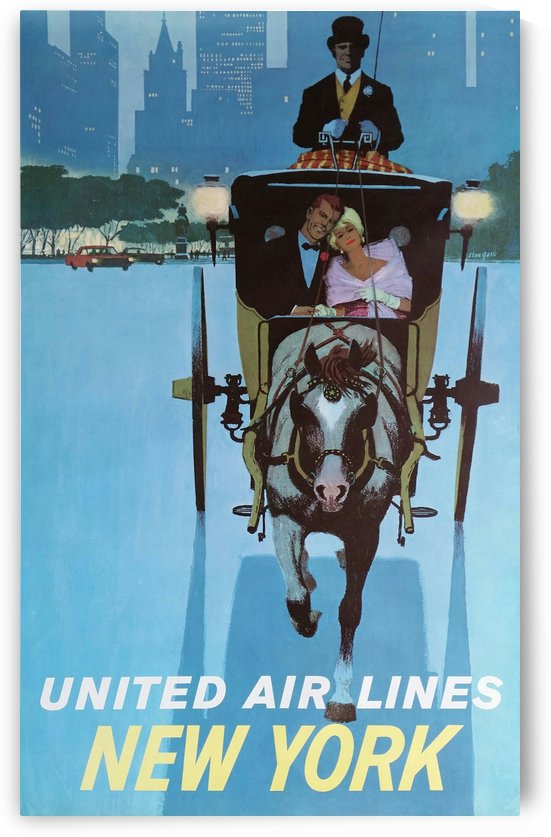 United Airlines Poster for New York City by VINTAGE POSTER