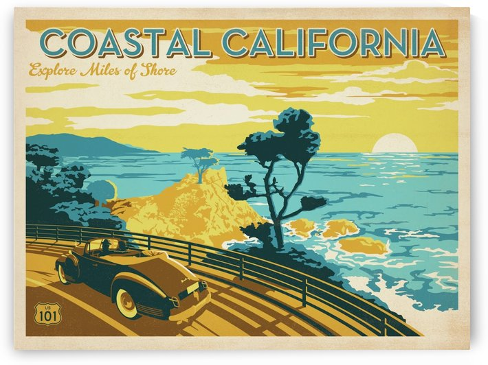 Coastal California travel poster by VINTAGE POSTER