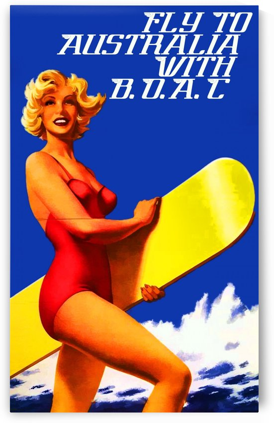 Fly to Australia travel poster by VINTAGE POSTER