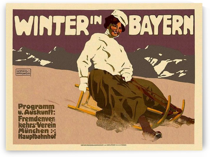 Winter in Bayern travel poster by VINTAGE POSTER