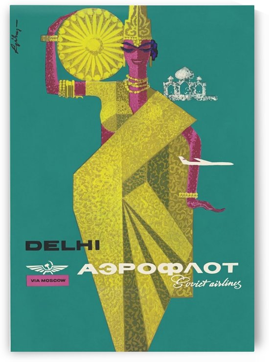Delhi via Moscow travel poster by VINTAGE POSTER