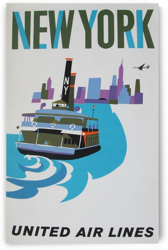 United Airlines Poster for New York by VINTAGE POSTER