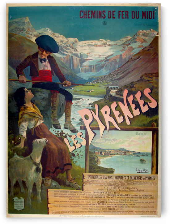 Les Pyrenees vintage poster by VINTAGE POSTER