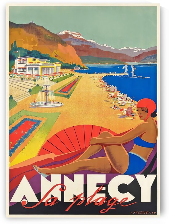 Vintage travel poster for Annecy La plage by VINTAGE POSTER