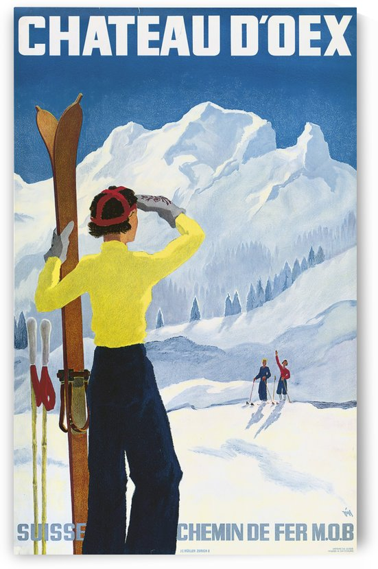 Poster for the village of Chateau dOex in the canton of Vaud in Switzerland by VINTAGE POSTER