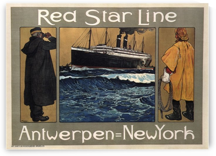 Red Star Line Travel Poster by VINTAGE POSTER