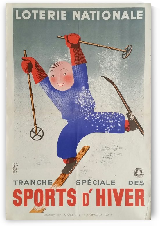 Original vintage poster ski winter sport Loterie Nationale by VINTAGE POSTER