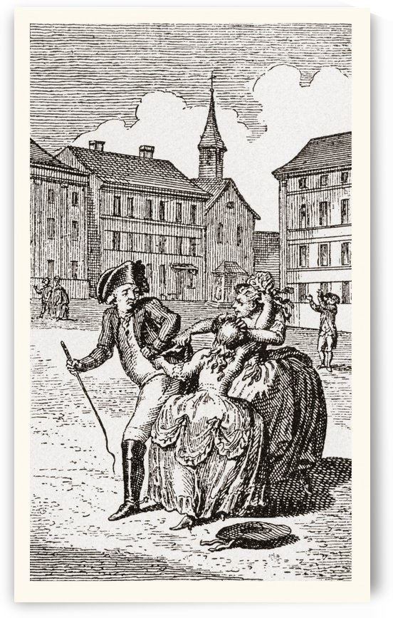 Two prostitutes fight for a gentleman's custom in the street. From Illustrierte Sittengeschichte vom Mittelalter bis zur Gegenwart by Eduard Fuchs, published 1909. by PacificStock