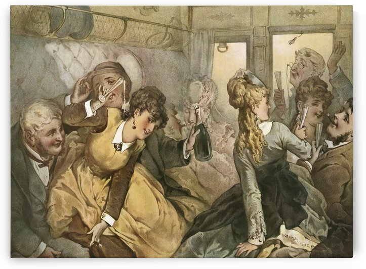 The train of pleasure, illustration for Madame Tellier's House, 1881 story by Guy de Maupassant. After a work by J Linder, 1862. From Illustrierte Sittengeschichte vom Mittelalter bis zur Gegenwart by Eduard Fuchs, published 1909. by PacificStock