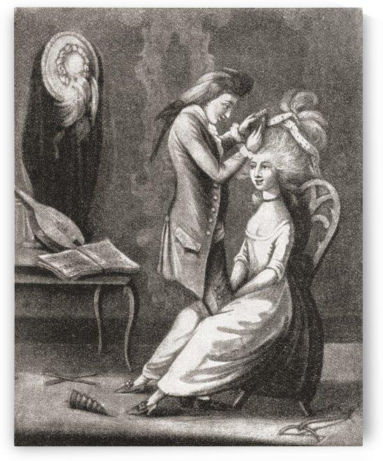 The Boarding-School Hair-Dresser, 1786. From Illustrierte Sittengeschichte vom Mittelalter bis zur Gegenwart by Eduard Fuchs, published 1909. by PacificStock