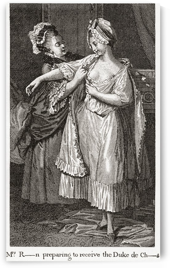 A contemporary print depicting Mary Robinson mistress of George IV. The caption suggests she is getting ready to receive the Duke of Chartres. Mary Robinson, n by PacificStock