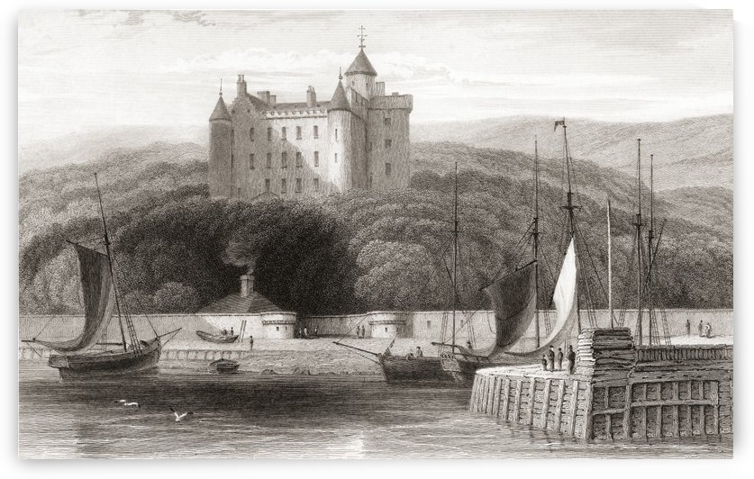 19th century view of Dunrobin Castle, Sutherland, Scotland. From Churton's Portrait and Lanscape Gallery, published 1836. by PacificStock