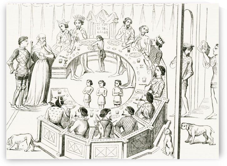 Knights of the Round Table, after a miniature in a manuscript in the Bibliotheque Royale. From Le Magasin Pittoresque, published 1843. by PacificStock