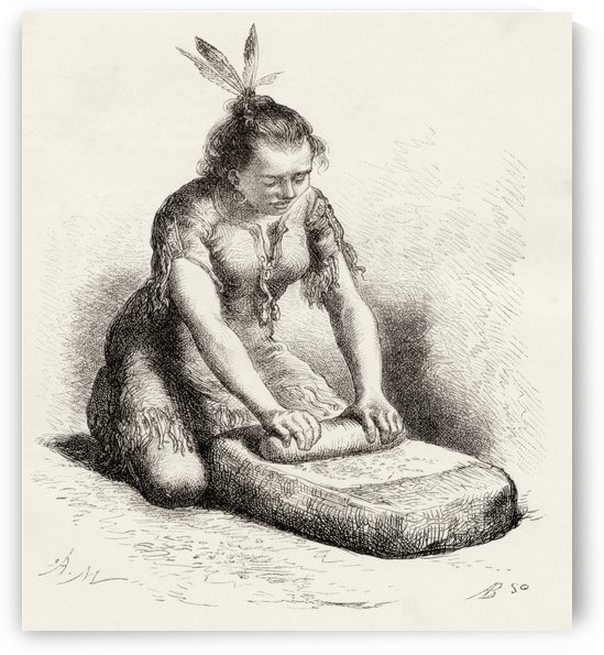 A native Guayan woman crushing grain. From Am by PacificStock