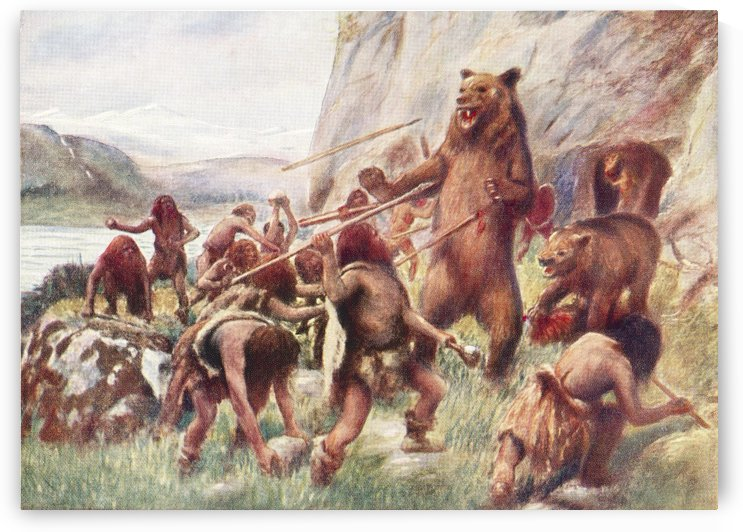 Stone age man hunting wild bears. After a work c.1920 by PacificStock